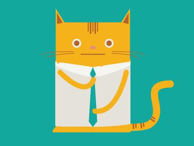 Planted Cat branding illustration tie cat business jobs planted
