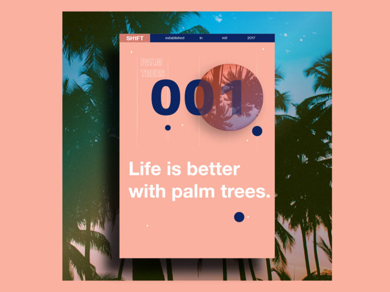 Life is better with palm trees. minimalist design minimalist pink montreal inner shadow drop shadow malibu poster design poster a day poster art illustrator poster palm trees palm tree