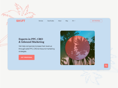 Home Page SH1FT sh1ft ui designer ui  ux marketing agency montreal agency living coral baby blue palm trees uxdesign uidesign uiux ux ui home page design home page illustration homepage design home page homepage
