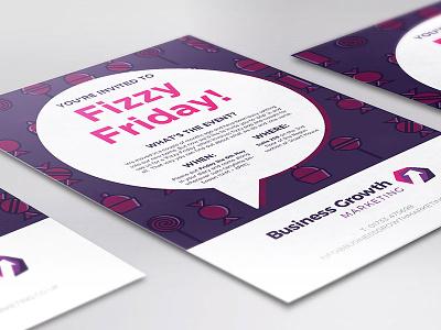 Fizzy Friday Invitation female designer printed flyer graphic design digital marketing fizzy friday marketing branding sweets purple illustration printed invitation