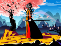 Blind Samurai concept art illustration