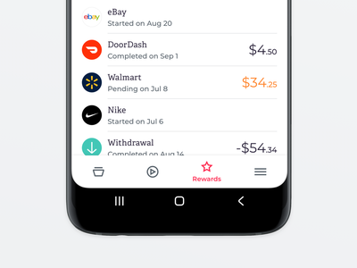 Rewards History transaction history transactions finance cryptocurrency shopping bitcoin crypto wallet wallet crypto currency crypto ui minimal fintech
