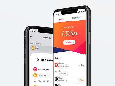 Rewards finance design cashback shopping app crypto wallet crypto crypto currency mobile app mobile ui ui minimal