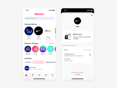 Shopping / Transactions mobile ui mobile app crypto currency crtpto app shopping cashback finance