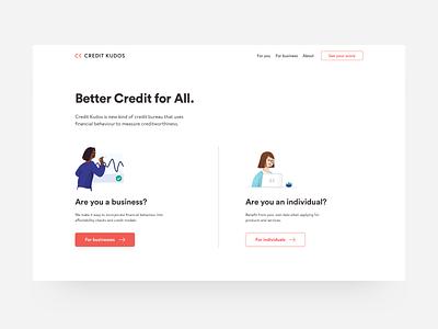 Credit Kudos minimal credit loans lending landing illustration web marketing landing page dashboard website fintech finance ux ui