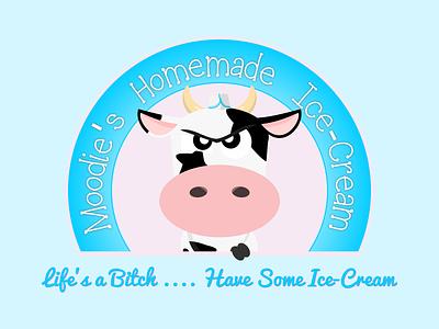 Moodie's Logo moody cow mood ice cream cow branding concept charachter design cartoon logodesign logo