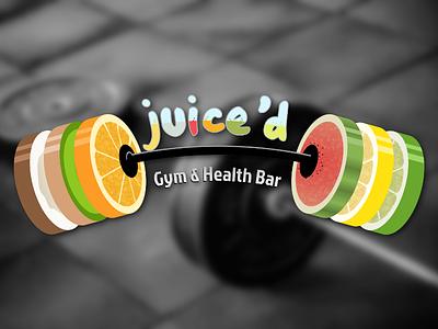 Juice'd fruit juice barbell gym logo illustration logo design