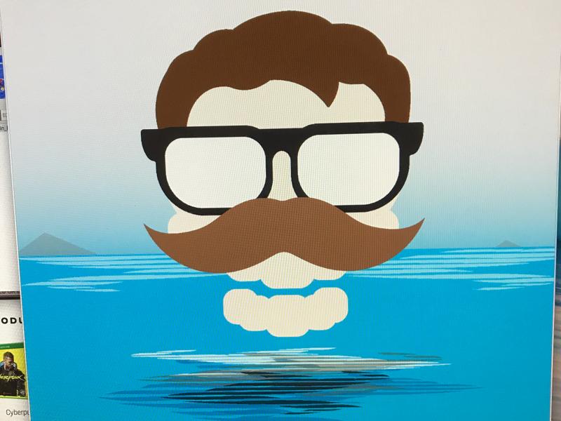 WIP reflection illustration illustrator mustache glasses ocean skulls