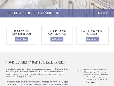 Content Detail - Kitchen & Bath site ui ux carousel jquery buckets buttons blue purple testimonials