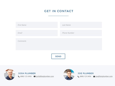 Contact section for plumber contact form contact employees staff ui ux plumber plumbing construction