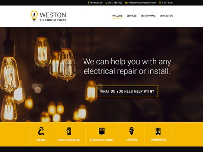 Electrician Homepage electrician electricity service yellow black homepage banner hero