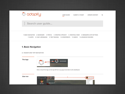 Adapify User Guide ux ui website help search documentation user guide adapify