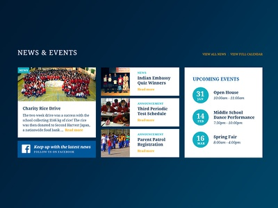 News & Events - Daily UI Challenge 094 website ui school news events eduation dailyui 094