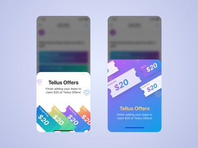 Tellus Offers iphone ui realestate coupon colors popup sale offer