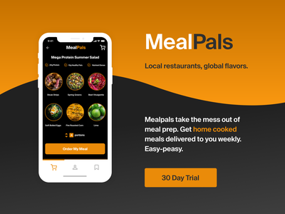 Mealpals app design ui copywriting adobe xd digital design