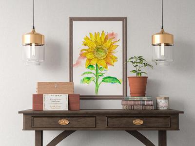 Sunflower wall art interior design mock up yellow hand painting hand drawing flower design botanical illustration watercolor surealism illustration greating