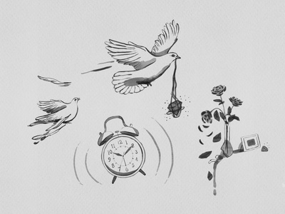 Broken Pigeon alarm clock floral illustrations floral pattern watercolor digital illustration ui botanical illustration interface bird flower vector design icon logo illustration