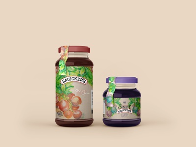 Smukers Jam Packaging product design packaging branding hand drawing watercolor packagingdesign illustration
