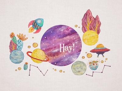 Hay! greating surealism planetarium outer space watercolor illustration