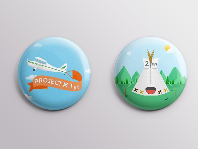 Project YX Anniversary Badges dribble work fun vector design illustration anniversary pins badges