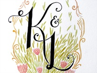 Monogram Watercolour and Pen Illustration and Hand Lettering
