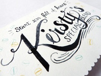 Hand Painted Watercolour Lettering for Client Cards