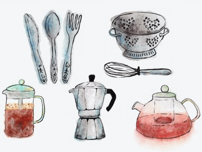 Watercolour Cooking Stuff watercolour watercolor illustration paint food cooking coffee tea cutlery collander whisk hand  drawn