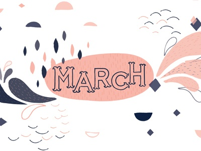 March Printable Calendar Illustration march navy pink blue vector illustration shapes hand drawn