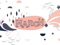 March Printable Calendar Illustration