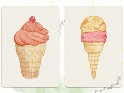 Watercolour Ice Cream  illustration watercolour watercolor retro food ice cream hand painted hand drawn