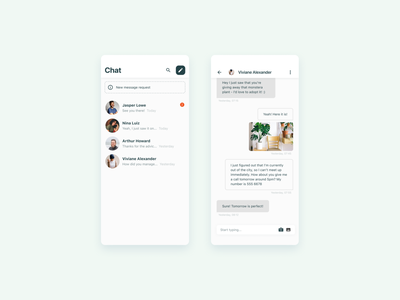 Chat Feature for a Mobile App messaging messenger messaging app messages chat bot lo-fi lofi ios design ux app design mobile app mobile ui ui clean chat app chatbot chat