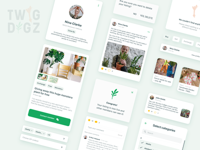 Social Media App for Gardeners   UI Elements profile page dialogs card design cards cards ui ui elements building blocks style guide chips tags filters craigslist listing page listings ui app design app gardening mobile app social media