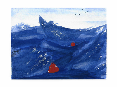 Stormy Sea Watercolor Illustration