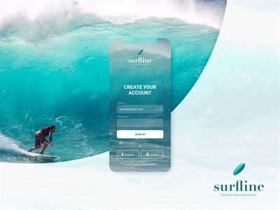Surfline App Sign-up Screen   #DailyUI001 iphone x ios app design surfers surfer surf surfing login design login screen login form login page signup form signup screen signup page signupform login signup branding app ui