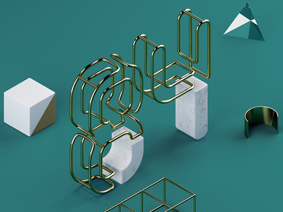 Personal lettering project marble gold vray c4d