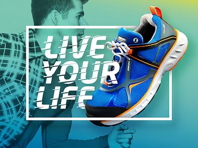 Shoe ad gradient blue hasselblad ad shoe