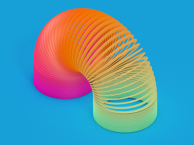 Slinky toy color 3d c4d