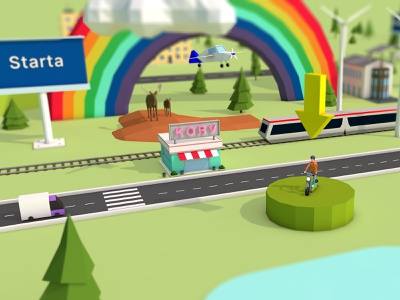 Business journey design cinema 4d campaign lowpoly webgl 3d three.js