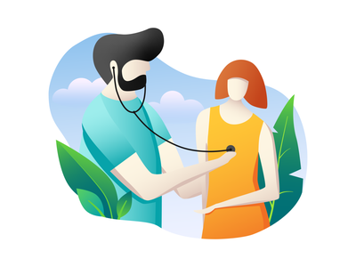 -How are you feeling? -Very Good! medical woman man reception healthcare health feel doctor floral plant color web vector illustration design