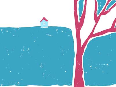 Landscape house tree flat doodle plant color illustration web design