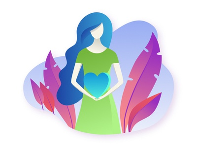Young woman holds the heart in her hands.