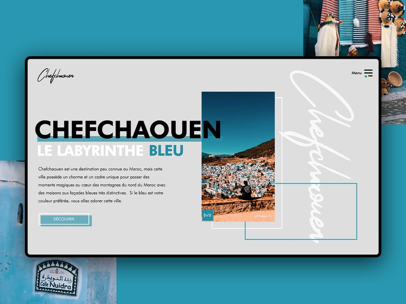 Chefchaouen, the blue pearl 💎 brand animation website web ux typography minimal illustration graphic design design