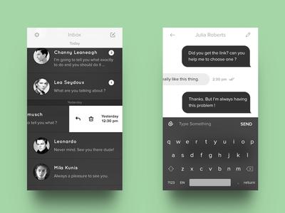 B&W Messenger minimal app ui dark black chat inbox ios keyboard messenger messages conversation