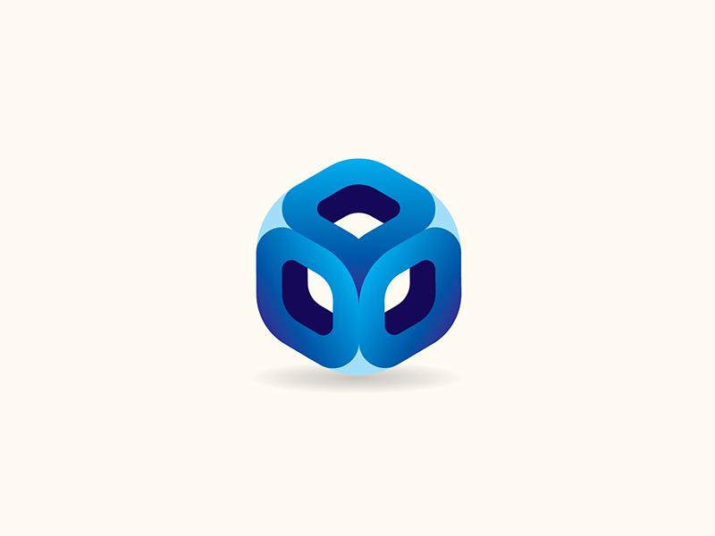 Smooth Cube Blue icon vector logo design
