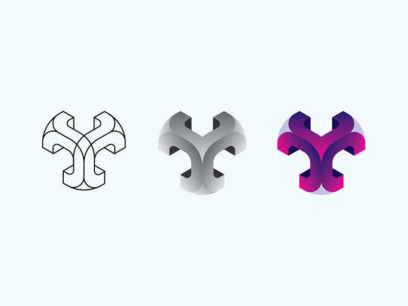 Smooth Cube Purple Complete icon vector logo design