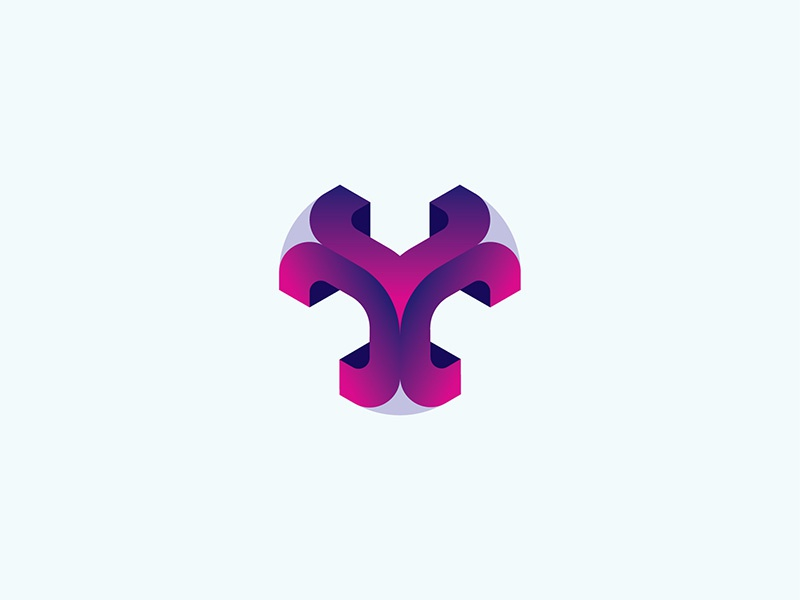Smooth Cube Purple icon vector logo design