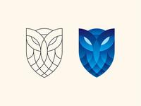 Owl Shield Logo Outline