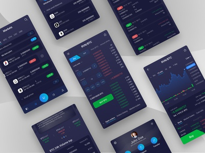 Crypto currency exchange android app interace dark app ux ui design trading crypto trading crypto exchange ux design ui  ux design ui mobile mobile app design mobile app app android