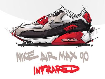 (Free vector)Nike Air Max 90 INFARED infared airmax90 airmax air clipart eps sneakerhead sneaker nike art work vector art free