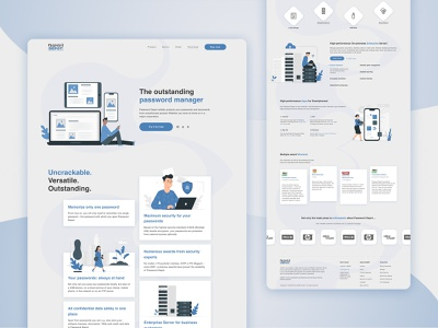 Password Depot Landing Page flat flatdesign e-commerce illustration landing page design landing page figma ui ui  ux design